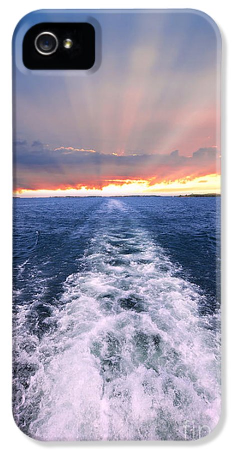 Boat IPhone 5 / 5s Case featuring the photograph Boat Wake On Georgian Bay by Elena Elisseeva