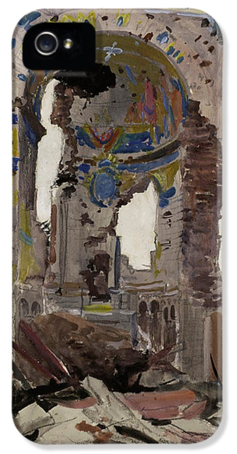 Albert Church IPhone 5 / 5s Case featuring the painting Bombed Out Interior Of Albert Church by Ernest Proctor
