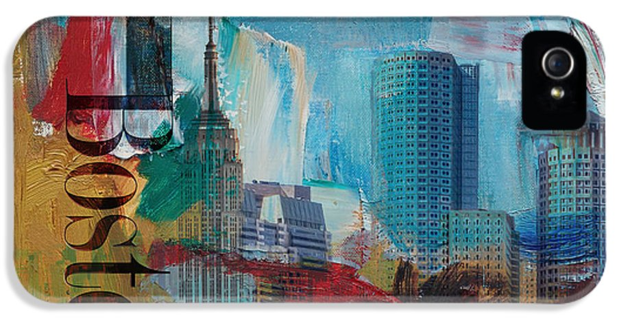 Boston City IPhone 5 / 5s Case featuring the painting Boston City Collage 3 by Corporate Art Task Force