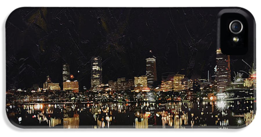 Boston City IPhone 5 / 5s Case featuring the painting Boston City Skyline 2 by Corporate Art Task Force