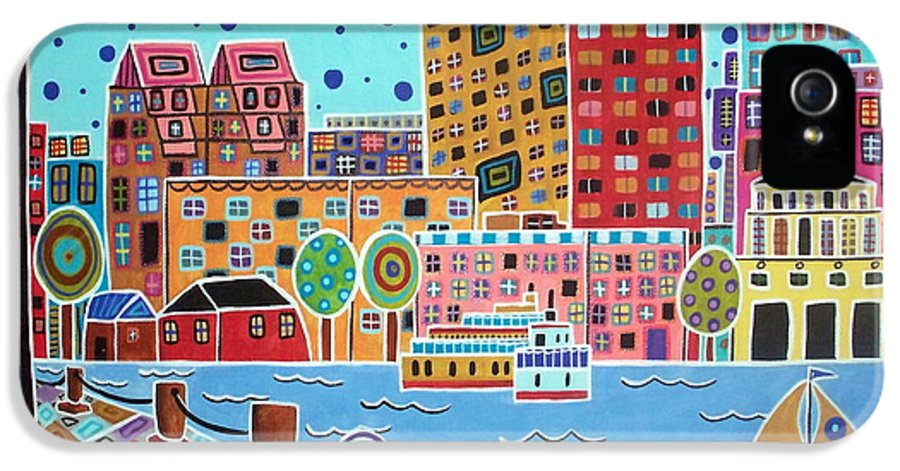 Cityscape IPhone 5 / 5s Case featuring the painting Boston Harbor by Karla Gerard