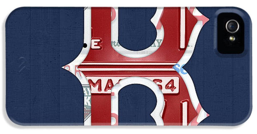 Boston IPhone 5 / 5s Case featuring the mixed media Boston Red Sox Logo Letter B Baseball Team Vintage License Plate Art by Design Turnpike