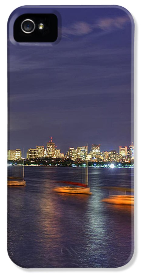 Moon Over Boston IPhone 5 / 5s Case featuring the photograph Boston Skyline From Memorial Drive by Joann Vitali