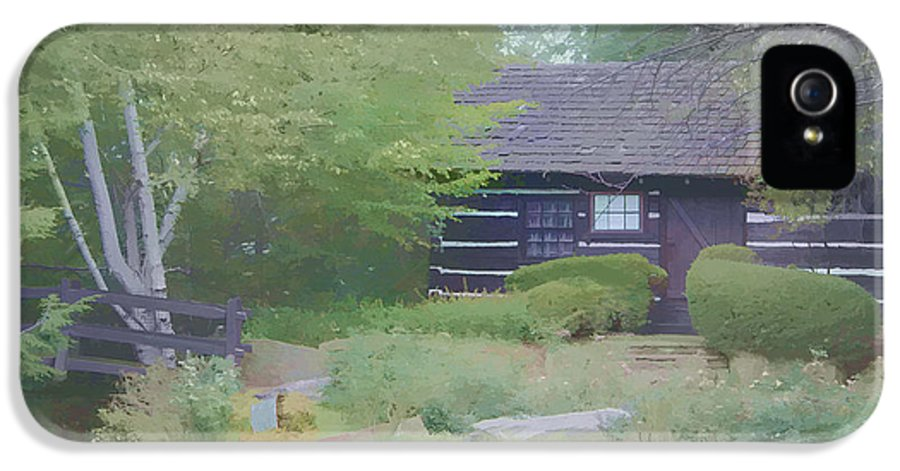 Log Cabin Retreat IPhone 5 / 5s Case featuring the painting Bridge To Harmony by Debra   Vatalaro