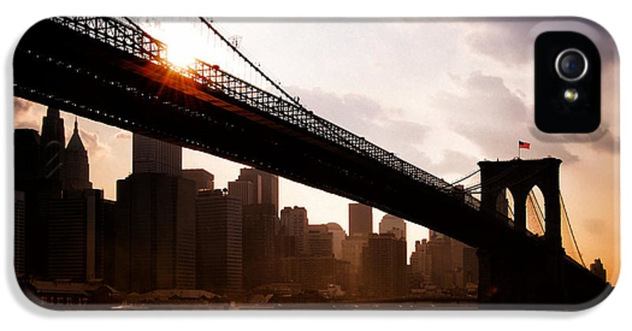 New York City IPhone 5 / 5s Case featuring the photograph Brooklyn Bridge And Skyline Manhattan New York City by Sabine Jacobs