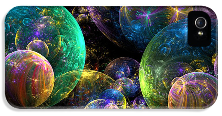 Abstract IPhone 5 / 5s Case featuring the digital art Bubbles Upon Bubbles by Peggi Wolfe