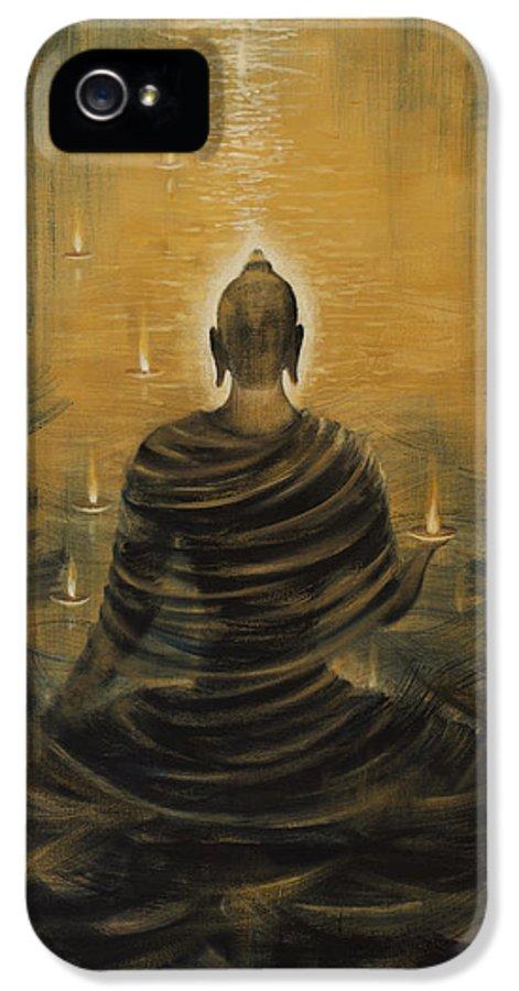 Buddha IPhone 5 / 5s Case featuring the painting Buddha. Nirvana Ocean by Vrindavan Das