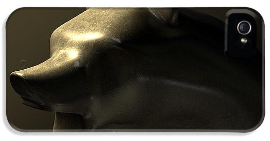 Bear Market IPhone 5 / 5s Case featuring the digital art Bull Market Bronze Casting Contrast by Allan Swart