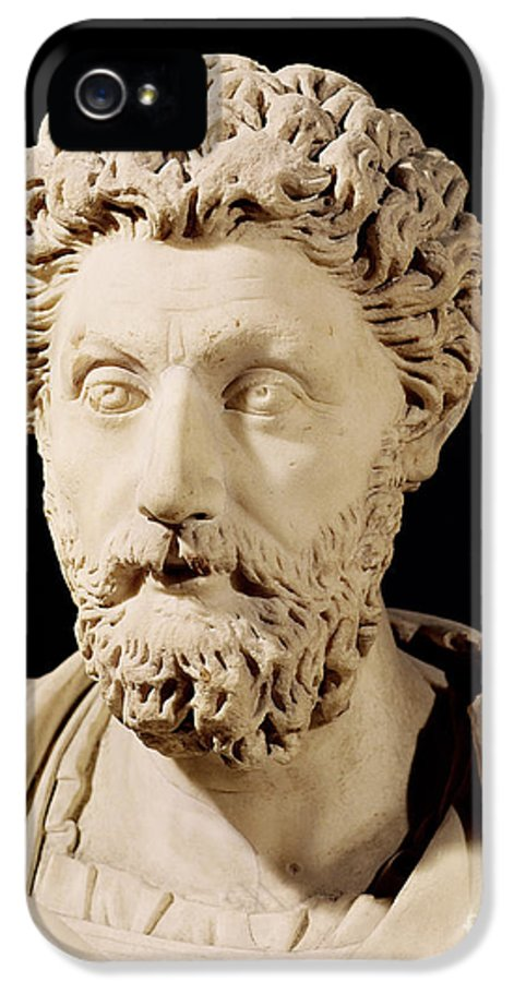 Roman Emperor IPhone 5 / 5s Case featuring the sculpture Bust Of Marcus Aurelius by Anonymous