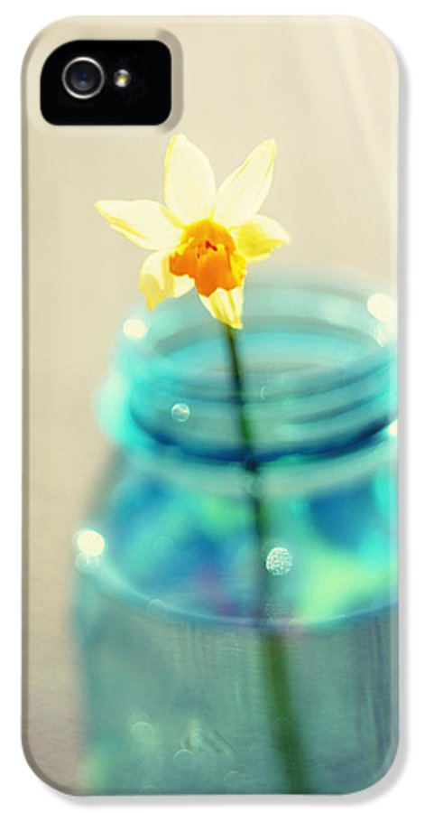 Buttercup IPhone 5 / 5s Case featuring the photograph Buttercup Photography - Flower In A Mason Jar - Daffodil Photography - Aqua Blue Yellow Wall Art by Amy Tyler