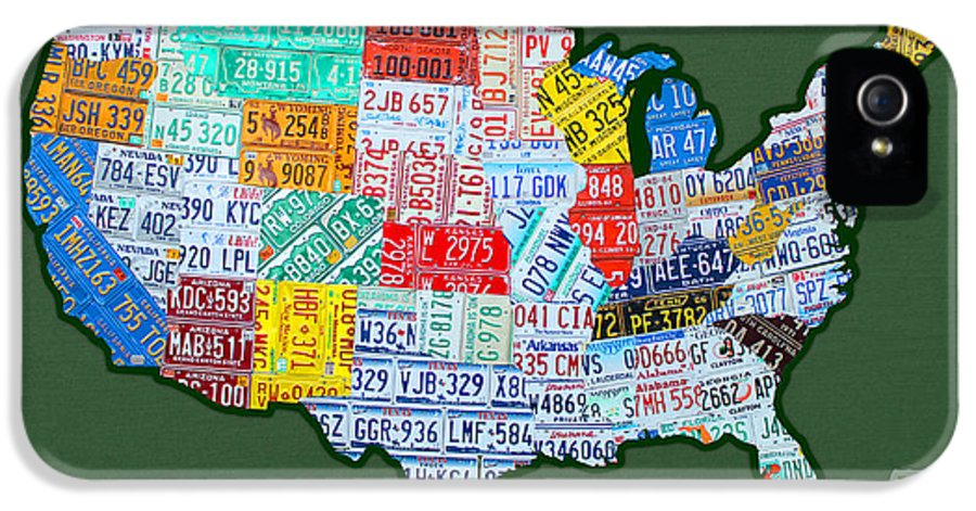 Car Tag Number Plate Art Usa On Green License Plate Map IPhone 5 / 5s Case featuring the mixed media Car Tag Number Plate Art Usa On Green by Design Turnpike