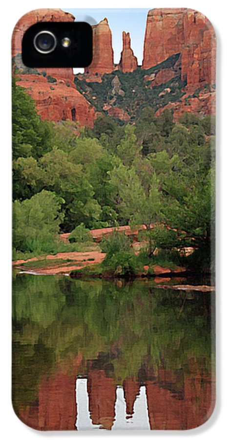 Cathedral Rock IPhone 5 / 5s Case featuring the painting Cathedral Rock 1 by Ellen Henneke