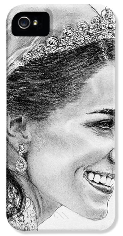 Mccombie IPhone 5 / 5s Case featuring the drawing Catherine - Duchess Of Cambridge In 2011 by J McCombie