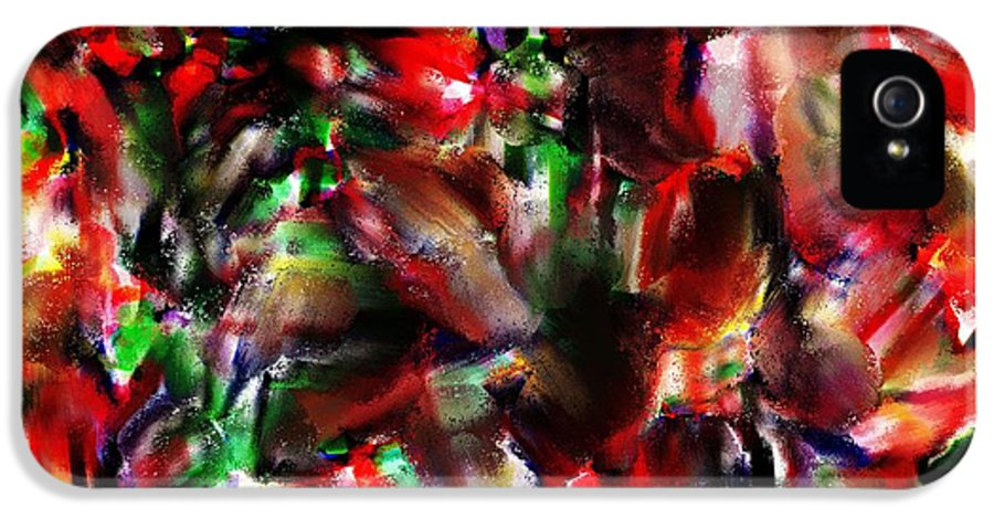 Abstract IPhone 5 / 5s Case featuring the painting Caught In The Crowd Two Water Color And Pastels Wash by Sir Josef Social Critic - ART