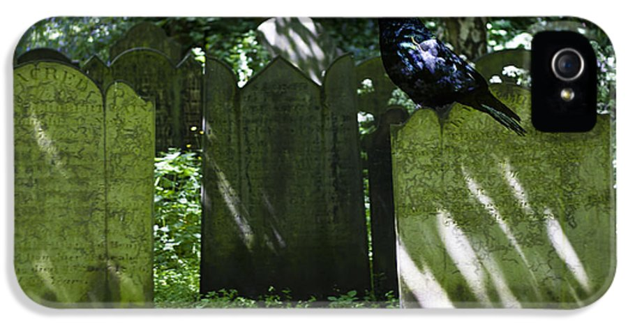 Graveyard IPhone 5 / 5s Case featuring the photograph Cemetery With Ancient Gravestones And Black Crow by Georgia Fowler
