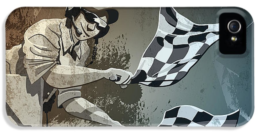 Racing IPhone 5 / 5s Case featuring the drawing Checkered Flag Grunge Monochrome by Frank Ramspott
