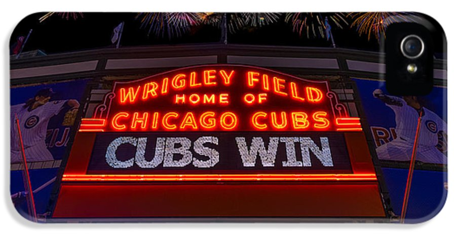 Chicago IPhone 5 / 5s Case featuring the photograph Chicago Cubs Win Fireworks Night by Steve Gadomski