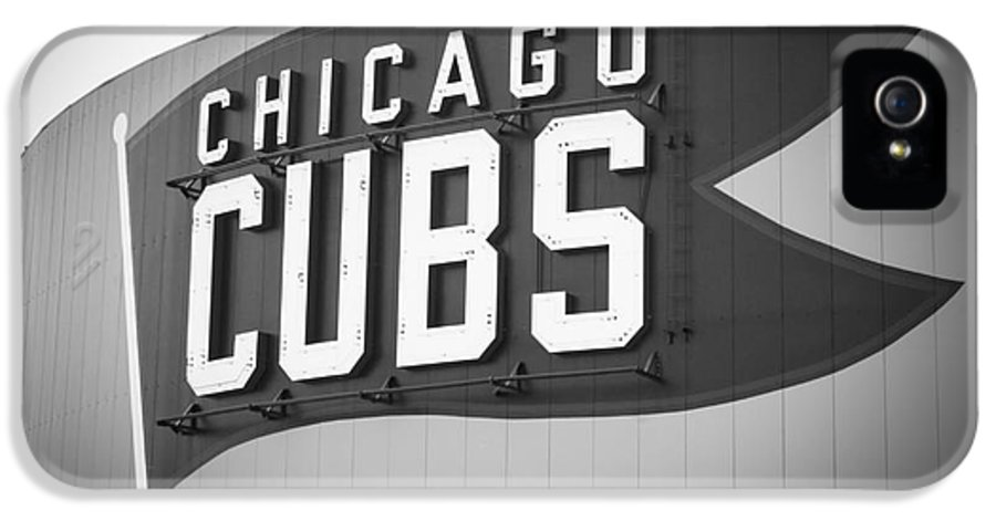 America IPhone 5 / 5s Case featuring the photograph Chicago Cubs Wrigley Field Sign Black And White Picture by Paul Velgos
