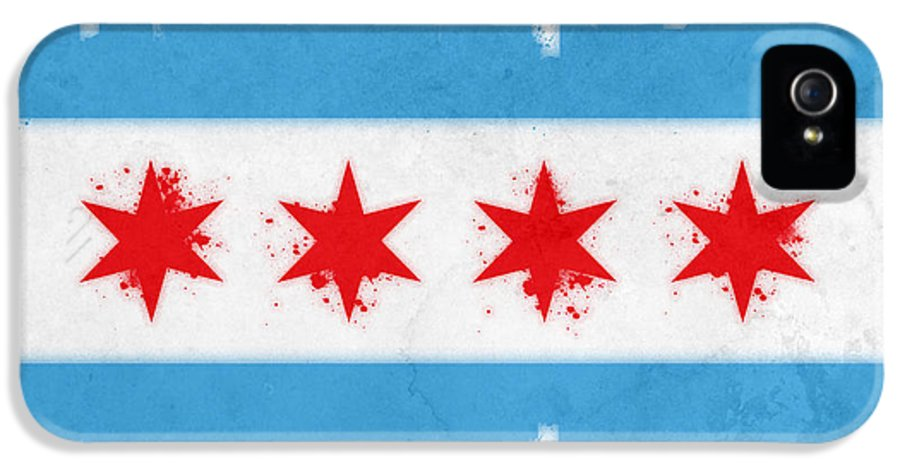 Chicago IPhone 5 / 5s Case featuring the painting Chicago Flag by Mike Maher