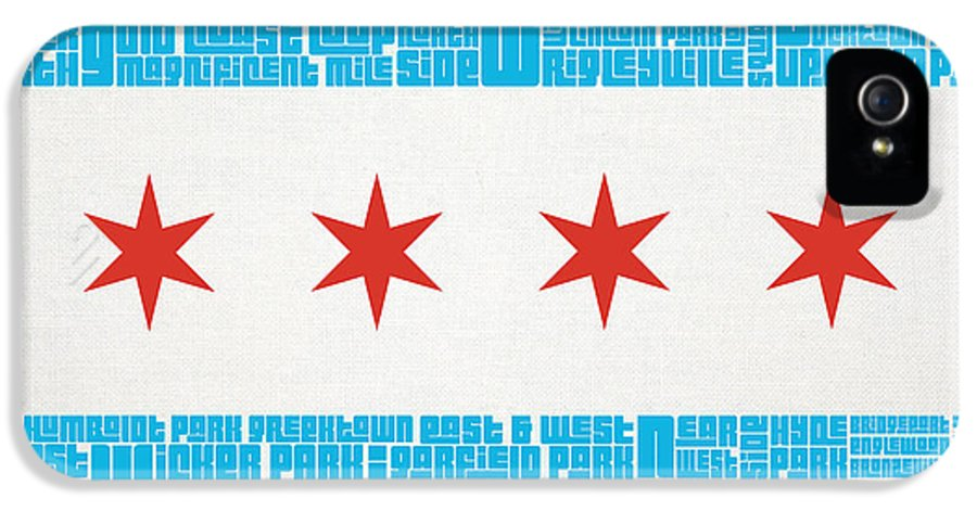 Chicago IPhone 5 / 5s Case featuring the digital art Chicago Flag Neighborhoods by Mike Maher