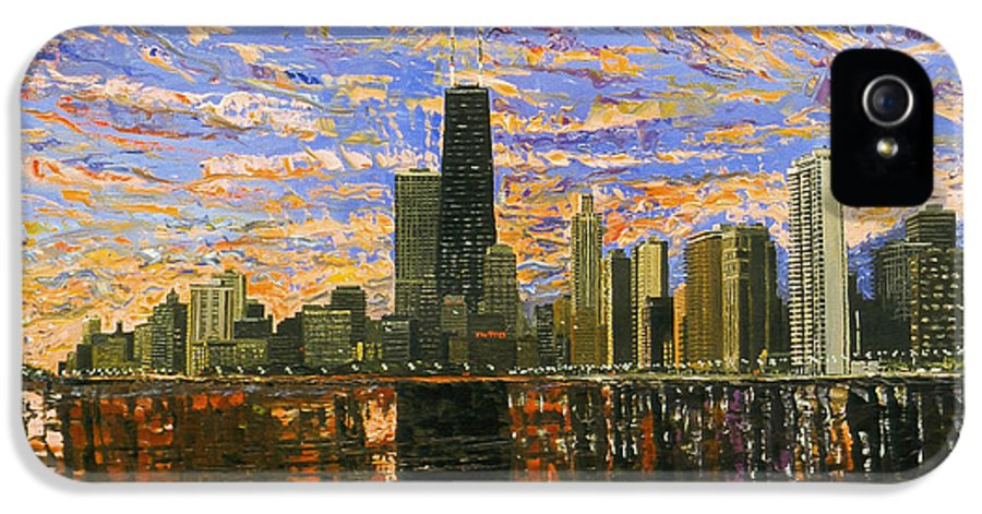 Chicago IPhone 5 / 5s Case featuring the painting Chicago by Mike Rabe