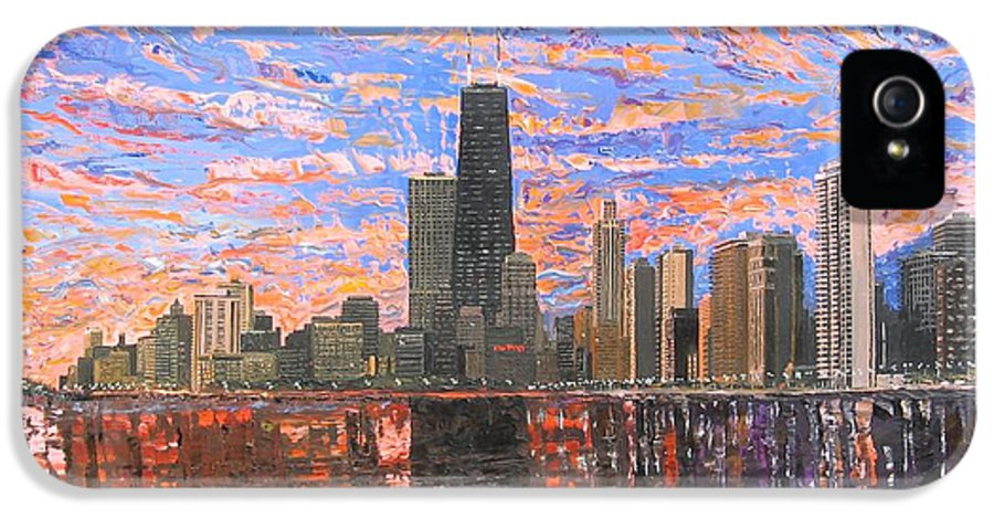 Chicago IPhone 5 / 5s Case featuring the painting Chicago Skyline - Lake Michigan by Mike Rabe