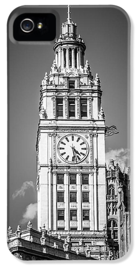 America IPhone 5 / 5s Case featuring the photograph Chicago Wrigley Building Clock Black And White Picture by Paul Velgos