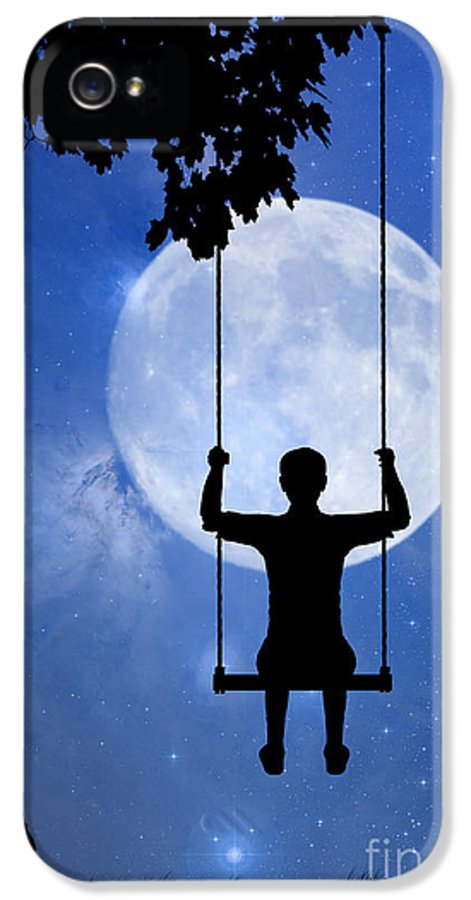 Childhood Dreams IPhone 5 / 5s Case featuring the drawing Childhood Dreams 2 The Swing by John Edwards