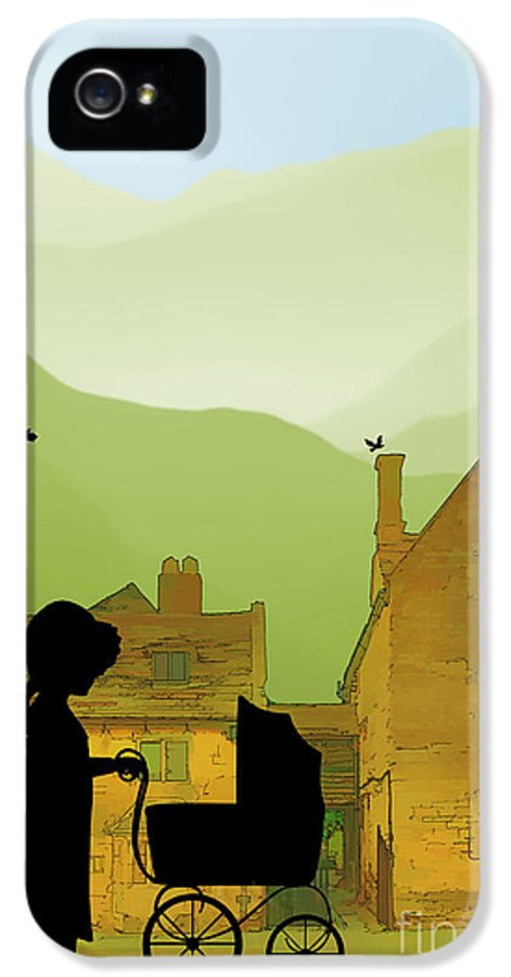 Childhood Memories IPhone 5 / 5s Case featuring the drawing Childhood Dreams The Pram by John Edwards