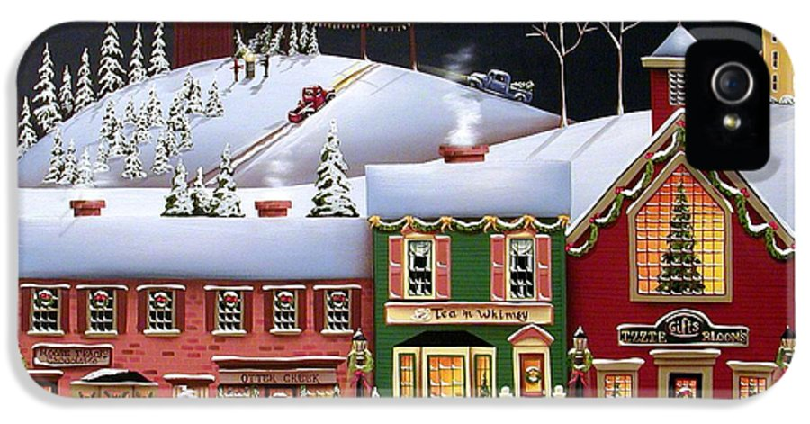 Art IPhone 5 / 5s Case featuring the painting Christmas In Holly Ridge by Catherine Holman