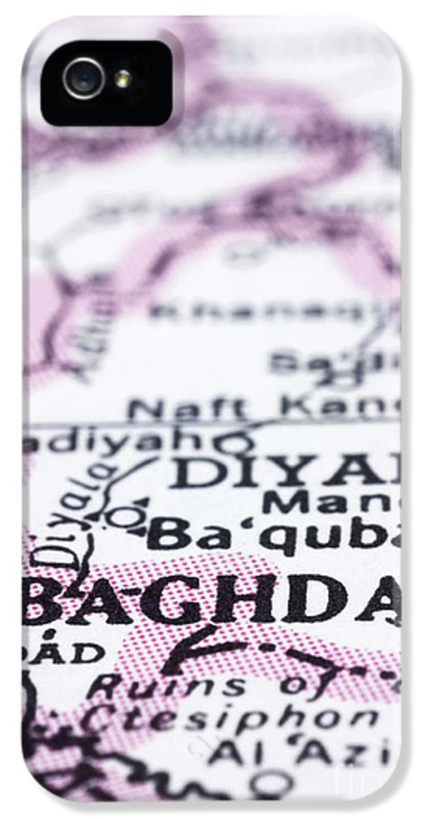 Baghdad IPhone 5 / 5s Case featuring the photograph close up of Baghdad on map-Iraq by Tuimages