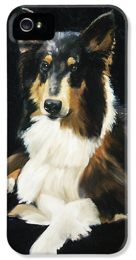 Portrait IPhone 5 / 5s Case featuring the painting Collie by Alice Leggett