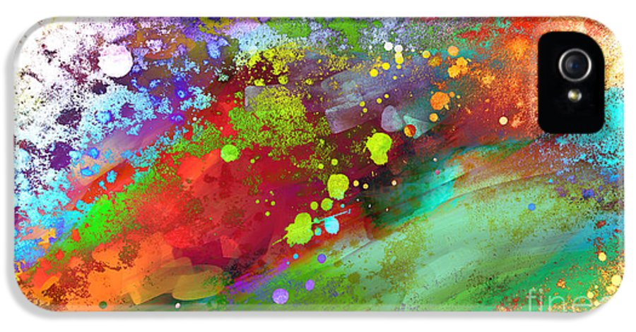 Abstract IPhone 5 / 5s Case featuring the painting Color Explosion Abstract Art by Ann Powell