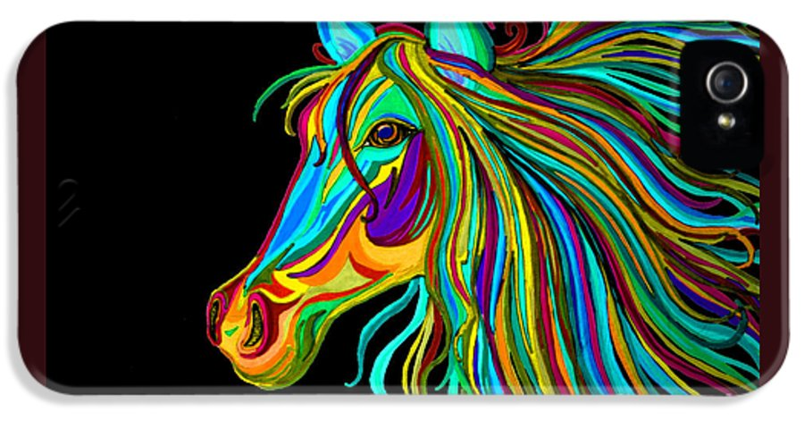 Horse IPhone 5 / 5s Case featuring the drawing Colorful Horse Head 2 by Nick Gustafson