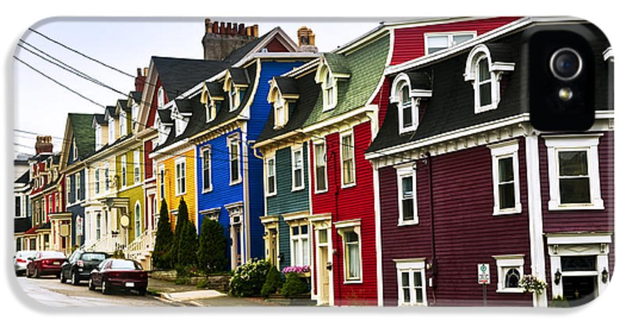 Street IPhone 5 / 5s Case featuring the photograph Colorful Houses In Newfoundland by Elena Elisseeva