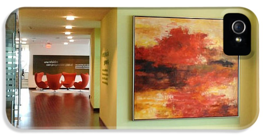 Contemporary Artwork By Artist Sheila Elsea239.404.6949now Accepting Commissions From Designers IPhone 5 / 5s Case featuring the painting Contemporary Lake In Red by Sheila Elsea