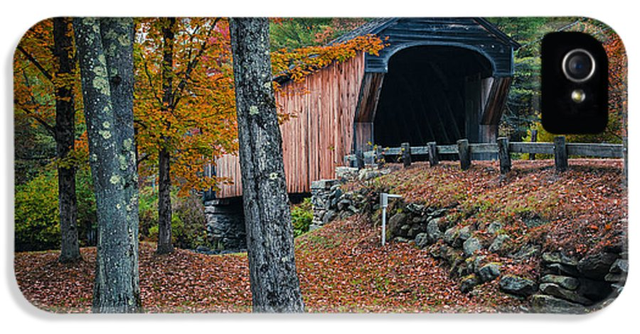 New Hampshire IPhone 5 / 5s Case featuring the photograph Corbin Covered Bridge Newport New Hampshire by Edward Fielding