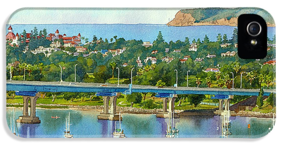 California IPhone 5 / 5s Case featuring the painting Coronado Island California by Mary Helmreich