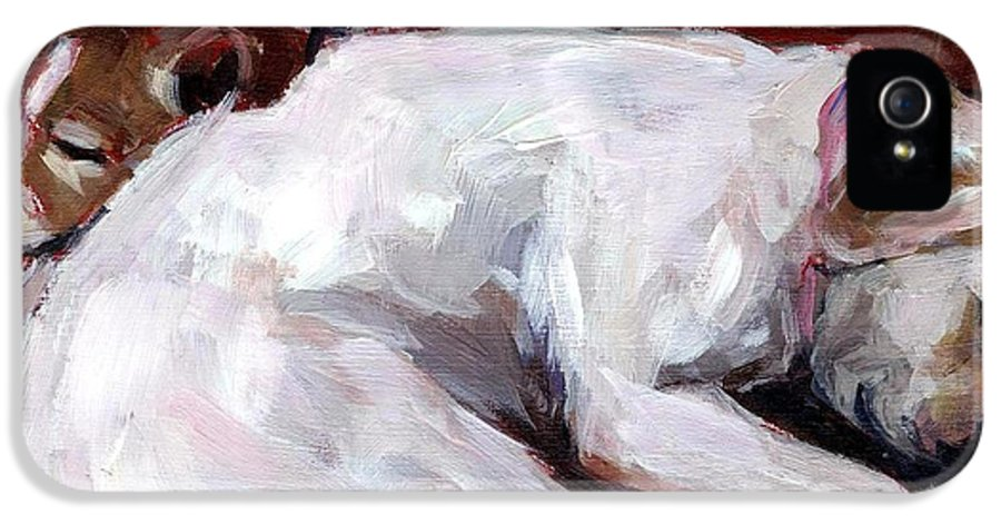 Dogs Snuggling IPhone 5 / 5s Case featuring the painting Cottonball by Molly Poole