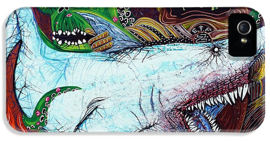 Shark IPhone 5 / 5s Case featuring the painting Creatures Of The Deep by Laura Barbosa