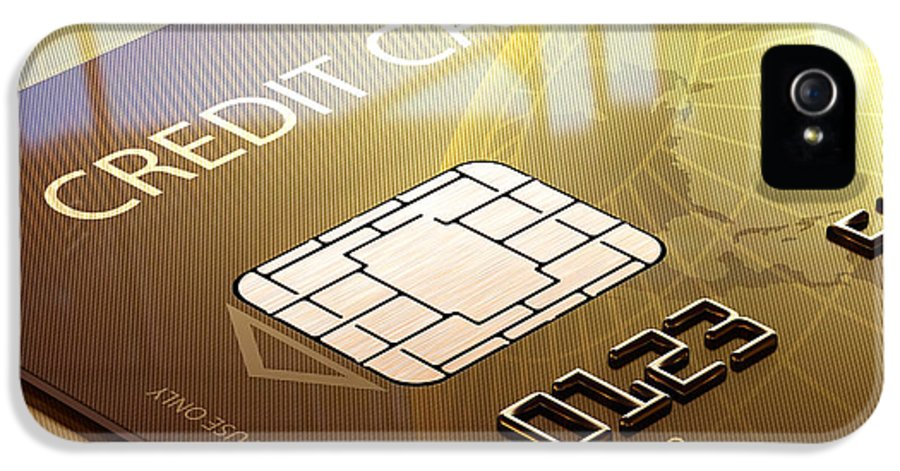 Credit IPhone 5 / 5s Case featuring the photograph Credit Card Macro - 3d Graphic by Johan Swanepoel