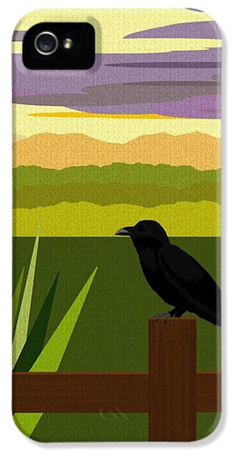 Fantasy Landscape IPhone 5 / 5s Case featuring the digital art Crow In The Corn Field by Val Arie