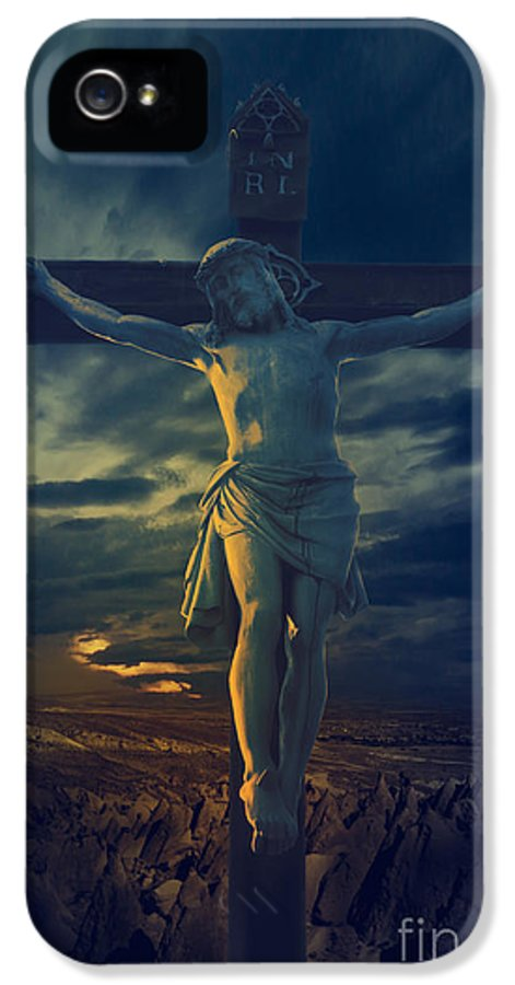 Jesus IPhone 5 / 5s Case featuring the digital art Crucifixcion by Jelena Jovanovic