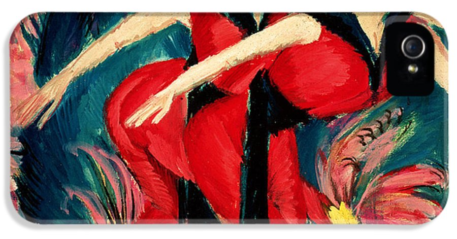 Expressionist IPhone 5 / 5s Case featuring the painting Dancers In Red by Ernst Ludwig Kirchner
