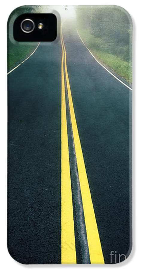 Foggy IPhone 5 / 5s Case featuring the photograph Dark Foggy Country Road by Edward Fielding