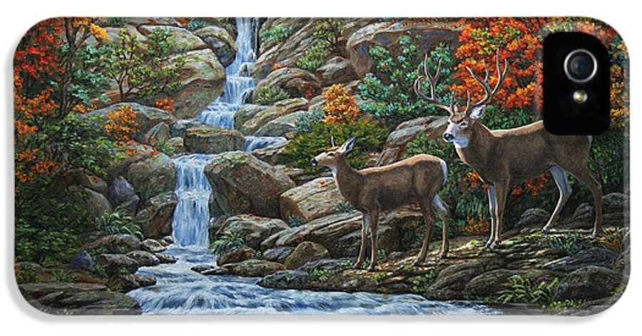 Water IPhone 5 / 5s Case featuring the painting Deer Painting - Tranquil Deer Cove by Crista Forest