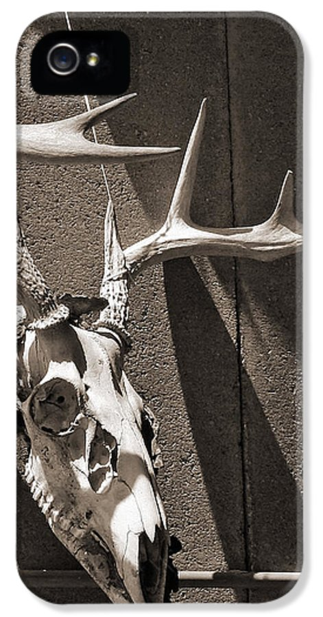For Him IPhone 5 / 5s Case featuring the photograph Deer Skull In Sepia by Brooke Ryan