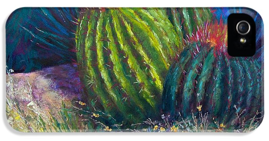 Cactus IPhone 5 / 5s Case featuring the painting Desert Garden by Sharon Frey