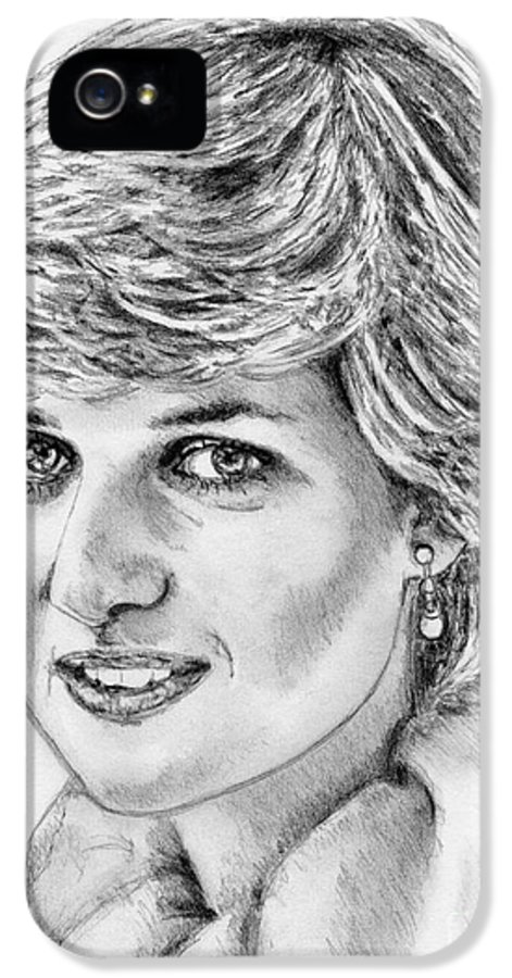 Mccombie IPhone 5 / 5s Case featuring the drawing Diana - Princess Of Wales In 1981 by J McCombie