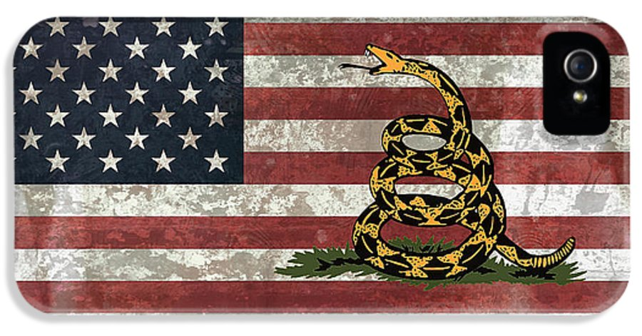 gadsden Flag IPhone 5 / 5s Case featuring the digital art Do Not Tread On Us Flag by Daniel Hagerman